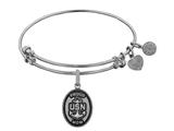 Angelica Collection Brass with White Finish Proud Mom U.S. Navy Oval Expandable Bangle style: WGEL1314