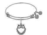 Brass Smooth Antique Yellow Finish Owl Charm On White Angelica Collection Bangle style: WGEL1351