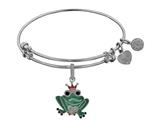 Brass White Finish Frog Charm On White Angelica Collection Bangle style: WGEL1358