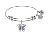 Angelica Collection Brass With White Butterfly Charm With Purple+white CZ On White Bangle style: WGEL1391