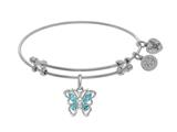 Angelica Collection Brass With White Butterfly Charm With Lite Blue +center White CZ On White Bangle style: WGEL1393