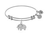 Angelica Collection Brass With White Elephant Charm With White CZ On W Hite Bangle style: WGEL1395