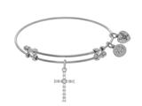 Angelica Collection Brass With White Cross Charm With White CZ On Whi Te Bangle style: WGEL1404