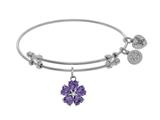 Angelica Collection Brass With White 5-heart Flower Charm With Purple Le+small Center White CZ On White Bangle style: WGEL1431