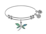 Angelica Collection Brass With White Created Opal Dragonfly Charm On W Hite Bangle style: WGEL1441