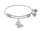 Brass With White Finish Charm With White CZ Closed Butterfly On White Angelica Collection Bangle style: WGEL1545