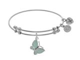 Brass With White Finish Charm With Green+black Cen Ter CZ Butterfly On White Angelica Collection Bangle style: WGEL1546