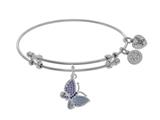 Brass With White Finish Charm With Purple CZ Butterfly On White Angelica Collection Bangle style: WGEL1547