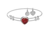 Brass With White Finish Heart Charm With Red CZ On White Angelica Collection Bangle style: WGEL1571