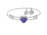 Brass With White Finish Heart Charm With Purple Cubic Zirconia On White Angelica Collection Bangle style: WGEL1572