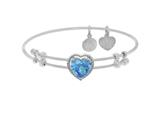 Brass With White Finish Heart Charm With Lite Blue CZ On White Angelica Collection Bangle style: WGEL1574