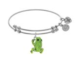 Brass With White Green Frog Enamel Charm On White Angelica Collection Bangle style: WGEL1724