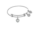 Angelica Collection Brass With White Finish Charm April Heart Shape CZ Birth Month style: WTGEL9016
