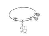 Brass With White Finish Charm Initial B On White Angelica Tween Bangle style: WTGEL9051