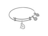 Brass With White Finish Charm Initial D On White Angelica Tween Bangle style: WTGEL9053