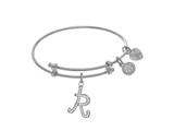 Brass With White Finish Charm Initial R On White Angelica Tween Bangle style: WTGEL9067