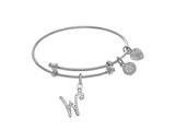 Brass With White Finish Charm Initial W On White Angelica Tween Bangle style: WTGEL9072