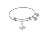 Brass With White Butterfly Charm With CZ On White Angelica Collection Tween Bangle style: WTGEL9079