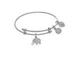 Angelica Collection White Finish Expandable Tween Brass Bangle With El Ephant Charm With Cubic Zirconia In White Finish style: WTGEL9106