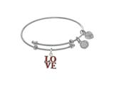 Angelica Collection Yellow Finish Expandable Tween Brass Bangle With L Ove Charm In White Finish style: WTGEL9111