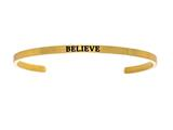 "Intuition Stainless Steel Yellow Finish ""believe""Cuff Bangle style: YINT5040"