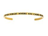 "Intuition Stainless Steel Yellow Finish ""never Forget Where You Came From""Cuff Bangle style: YINT5069"