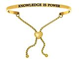 "Intuition Stainless Steel Yellow Finish ""knowledge Is Power""adjustable Friendship Bracelet style: YINT7065"