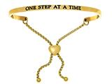 "Intuition Stainless Steel Yellow Finish ""one Step At A Time""adjustable Friendship Bracelet style: YINT7069"