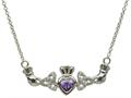 ShanOre® Claddagh Trinity Design with 5mm Simulated Amethyst (CZ) Heart Pendant Necklace
