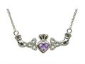 ShanOre® Claddagh Trinity Design with 5mm Simulated Alexandrite (CZ) Heart Pendant Necklace