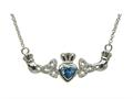 ShanOre® Claddagh Trinity Design with 5mm Simulated Blue Topaz (CZ) Heart Pendant Necklace