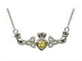 ShanOre® Claddagh Trinity Design with 5mm Simulated Citrine (CZ) Heart Pendant Necklace