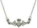 ShanOre® Claddagh Trinity Design with 5mm Simulated Cubic Zirconia (CZ) Heart Pendant Necklace