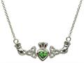 ShanOre® Claddagh Trinity Design with 5mm Simulated Emerald (CZ) Heart Pendant Necklace