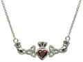 ShanOre® Claddagh Trinity Design with 5mm Simulated Garnet (CZ) Heart Pendant Necklace