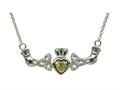 ShanOre® Claddagh Trinity Design with 5mm Simulated Peridot (CZ) Heart Pendant Necklace