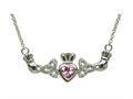 ShanOre® Claddagh Trinity Design with 5mm Simulated Pink Tourmaline (CZ) Heart Pendant Necklace