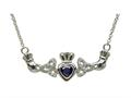 ShanOre® Claddagh Trinity Design with 5mm Simulated Sapphire (CZ) Heart Pendant Necklace