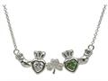 ShanOre® Claddagh Shamrock Mothers Pendant Necklace Personalize 2 5mm Heart Shape Simulated Birthstones