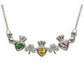 ShanOre® Claddagh Shamrock Mothers Pendant Necklace Personalize 3 5mm Heart Shape Simulated Birthstones