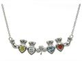 ShanOre® Claddagh Shamrock Mothers Pendant Necklace Personalize 4 5mm Heart Shape Simulated Birthstones