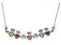 ShanOre® Claddagh Shamrock Mothers Pendant Necklace Personalize 5 5mm Heart Shape Simulated Birthstones