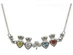 ShanOre Claddagh Shamrock Mothers Pendant Necklace Personalize with 4 5mm Heart Shape CZ Stones Style number: MP4S