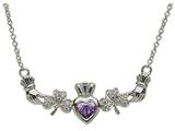 ShanOre® Claddagh Shamrock Design with 5mm Simulated Amethyst (CZ) Heart Pendant Necklace style: MP1SAM
