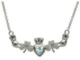 ShanOre® Claddagh Shamrock Design with 5mm Simulated Aquamarine (CZ) Heart Pendant Necklace style: MP1SAQ