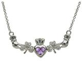 ShanOre® Claddagh Shamrock Design with 5mm Simulated Alexandrite (CZ) Heart Pendant Necklace style: MP1SAX