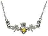 ShanOre® Claddagh Shamrock Design with 5mm Simulated Citrine (CZ) Heart Pendant Necklace style: MP1SCIT