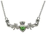 ShanOre® Claddagh Shamrock Design with 5mm Simulated Emerald (CZ) Heart Pendant Necklace style: MP1SEM