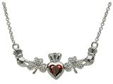 ShanOre® Claddagh Shamrock Design with 5mm Simulated Garnet (CZ) Heart Pendant Necklace style: MP1SG