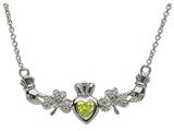 ShanOre® Claddagh Shamrock Design with 5mm Simulated Peridot (CZ) Heart Pendant Necklace style: MP1SP